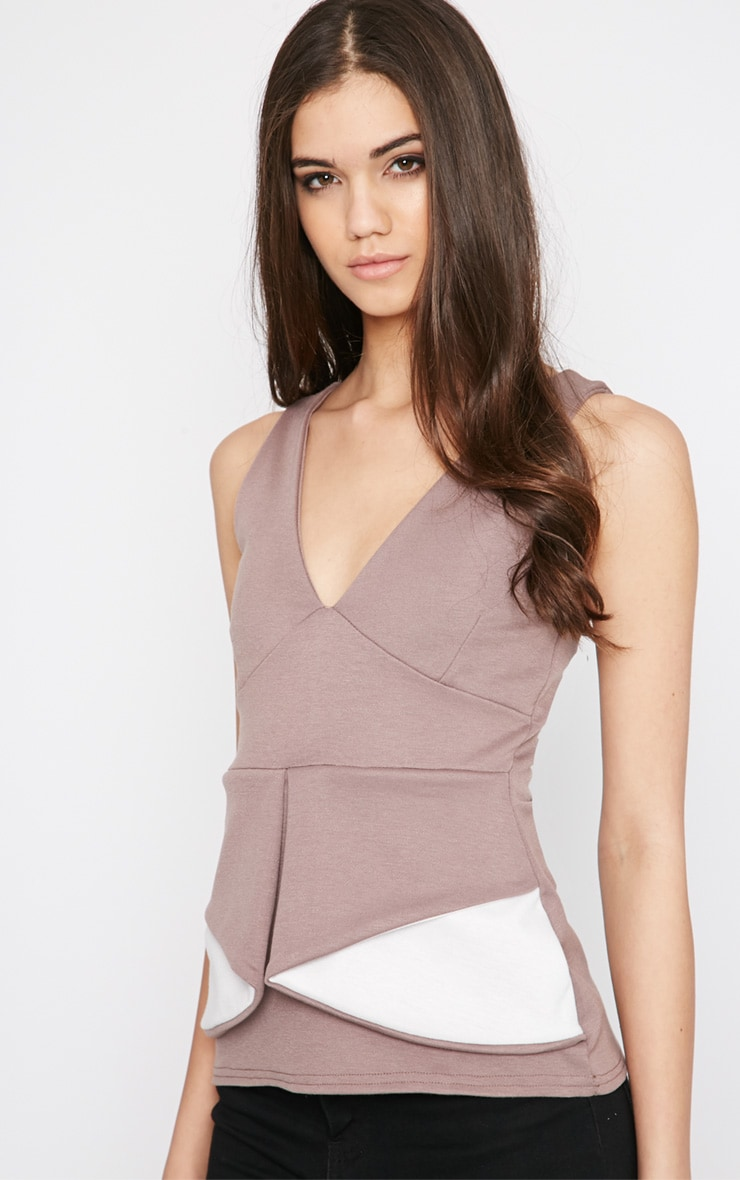 Noemi Mocha Colour Block Layered Peplum Top   1