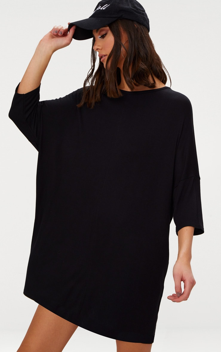 025888145c9c Basic Black Jersey Oversized Batwing T-shirt Dress image 1