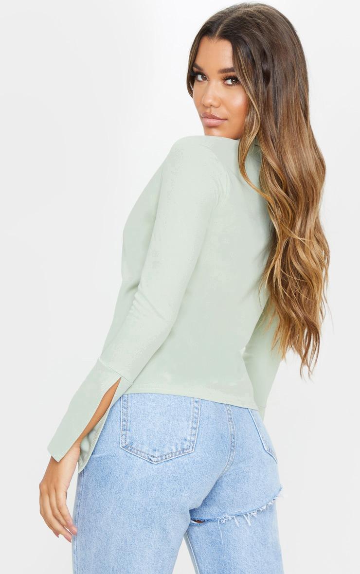 Sage Khaki Crepe Hook Front Oversized Shirt 2