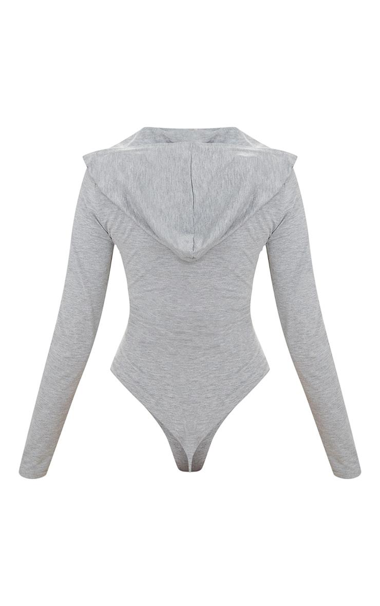 Grey Jersey Hoodie Bodysuit 4