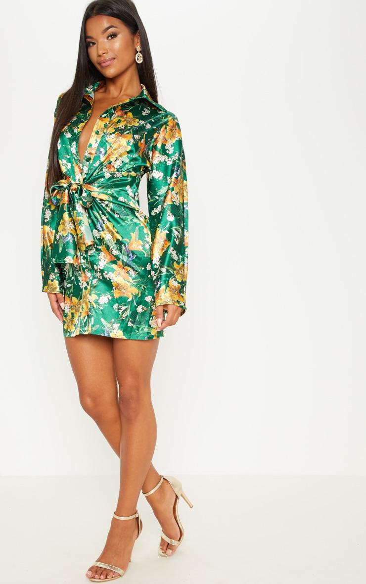 Green Satin Floral Knot Front Detail Shirt Dress 4