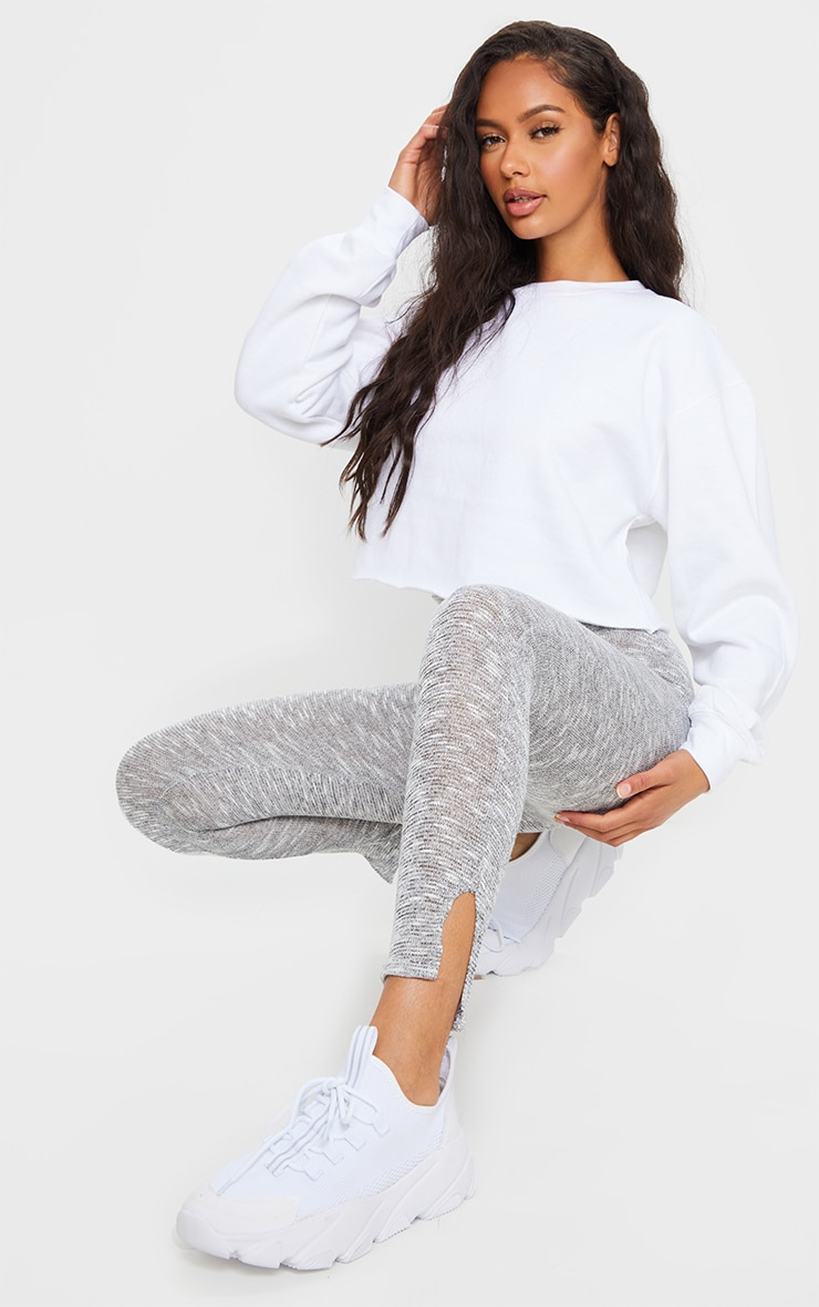 Grey Brushed Marl Split Hem Leggings 1