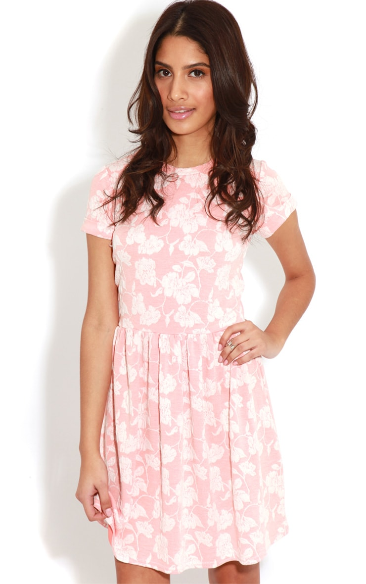 Eloise Coral Floral Dropped Hem Dress 1