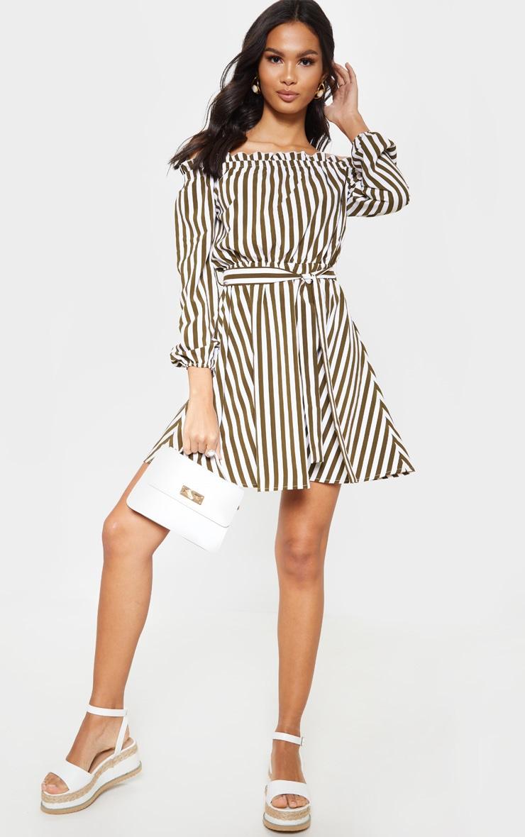 Khaki Stripe Satin Tie Bardot Dress  1