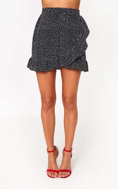 Black Polka Dot Frill Hem Wrap Mini Skirt