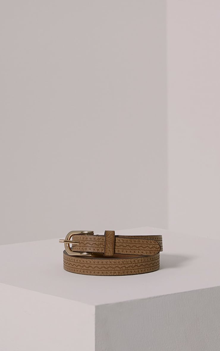 Lissi Tan PU Embossed Skinny Belt 2