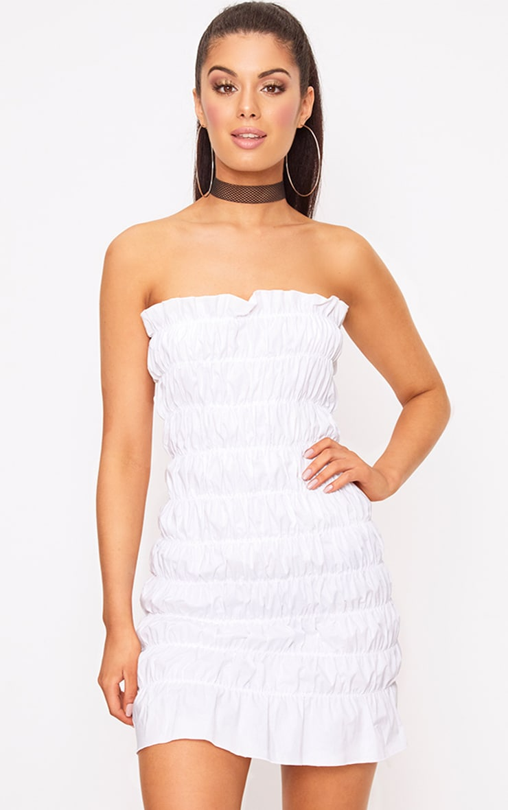 White Cotton Ruched Bodycon Dress 1
