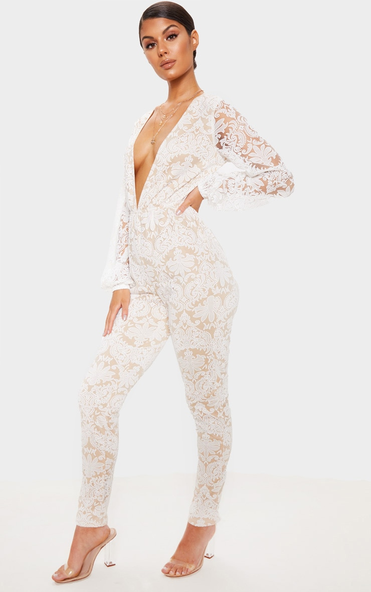 White Sheer Paisley Long Sleeve Jumpsuit 1