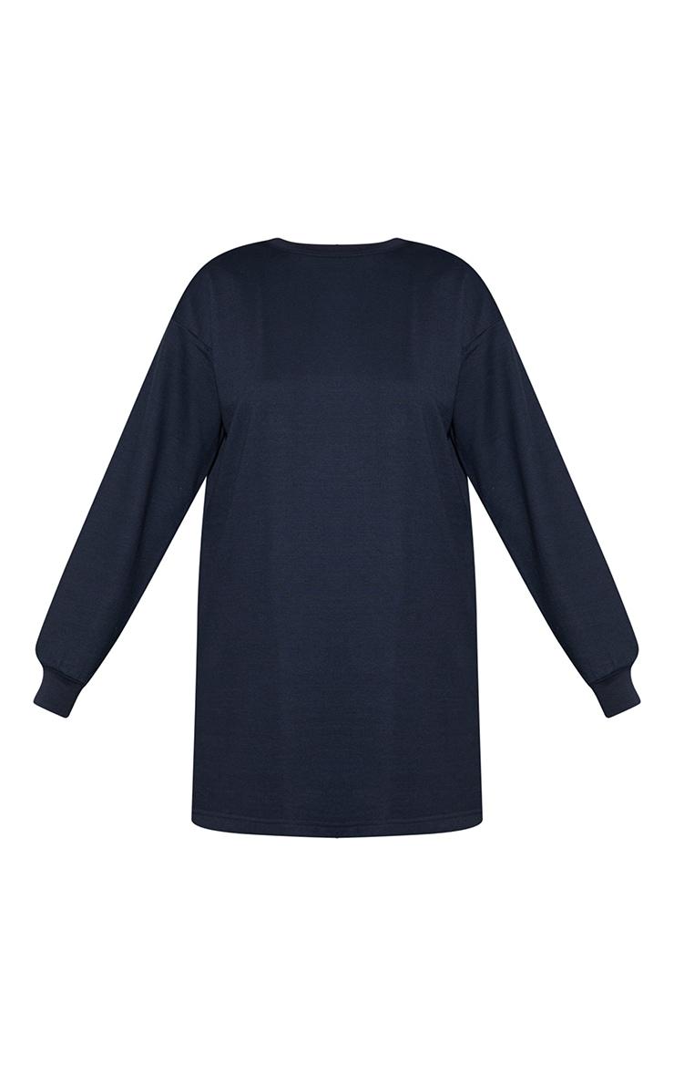 Navy Basic Crew Neck Oversized Sweater Dress 5