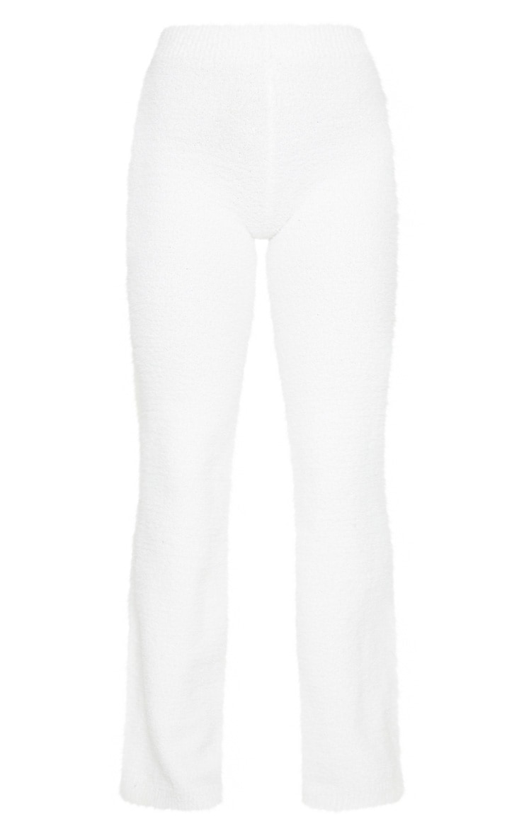 Cream High Waist Chenille Flared Trousers 6