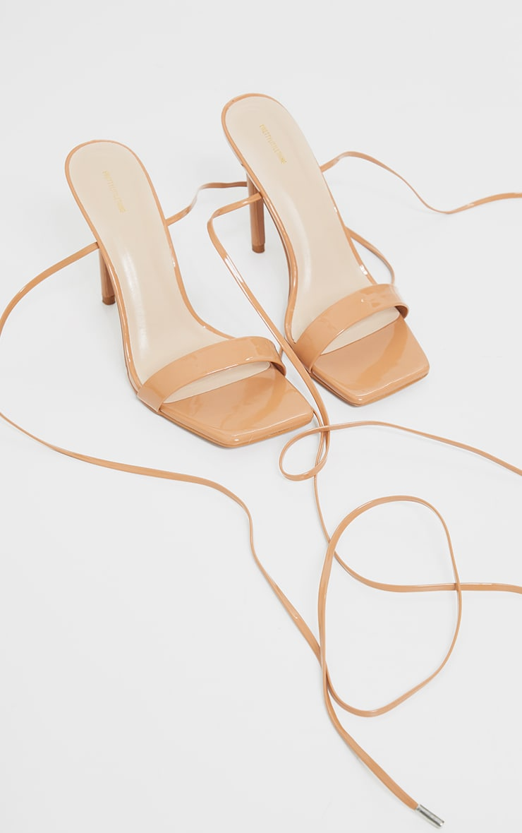 Taupe PU Patent Strap Lace Up High Heels 3