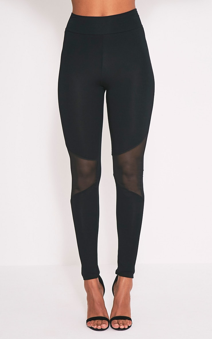 Eliana Black Mesh Insert Leggings 2