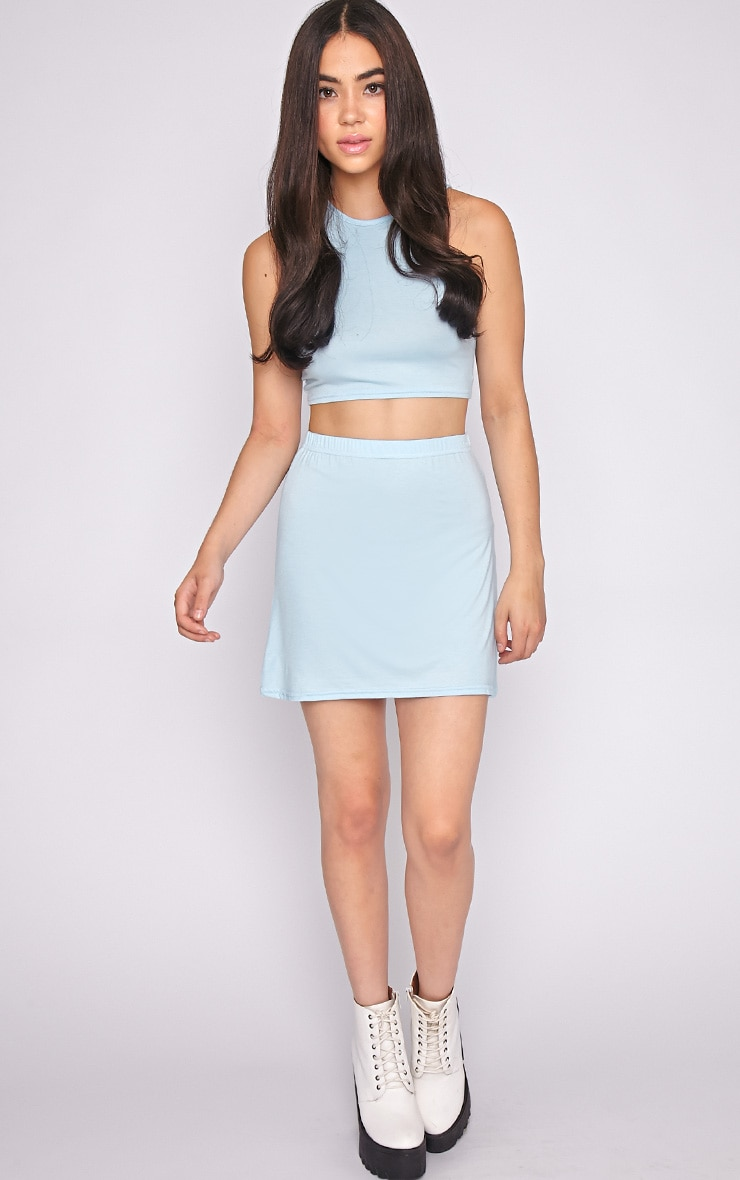 Erika Blue A Line Mini Skirt 1