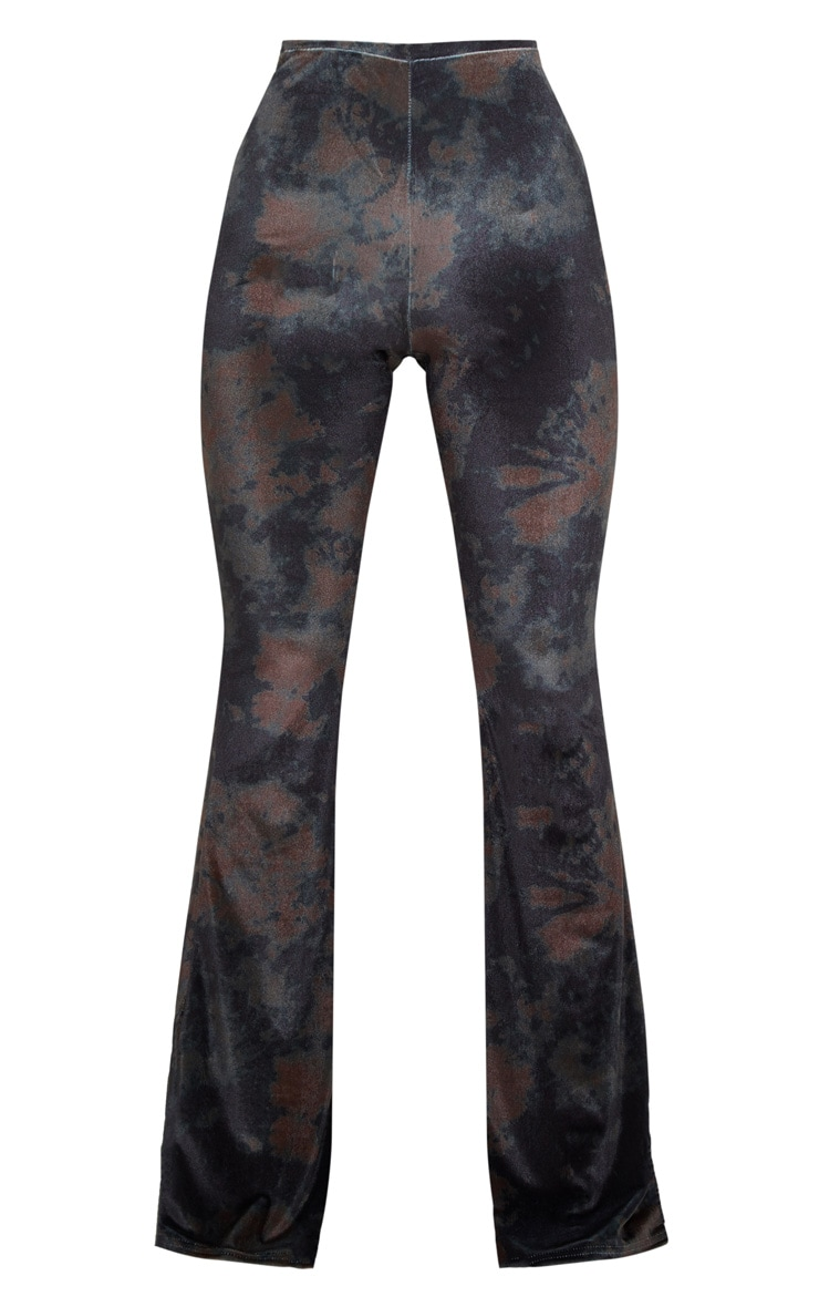 Black Tie Dye Velvet High Waisted Flared Pants 3