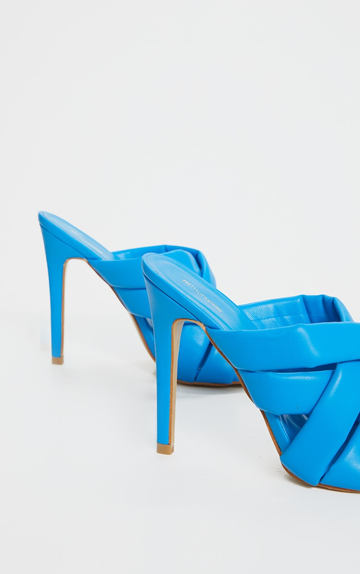 Blue Quilted Woven Strap High Mule Heels 4