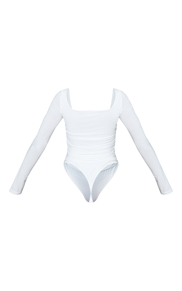 Cream Slinky Ruched Long Sleeve Square Neck Bodysuit 6