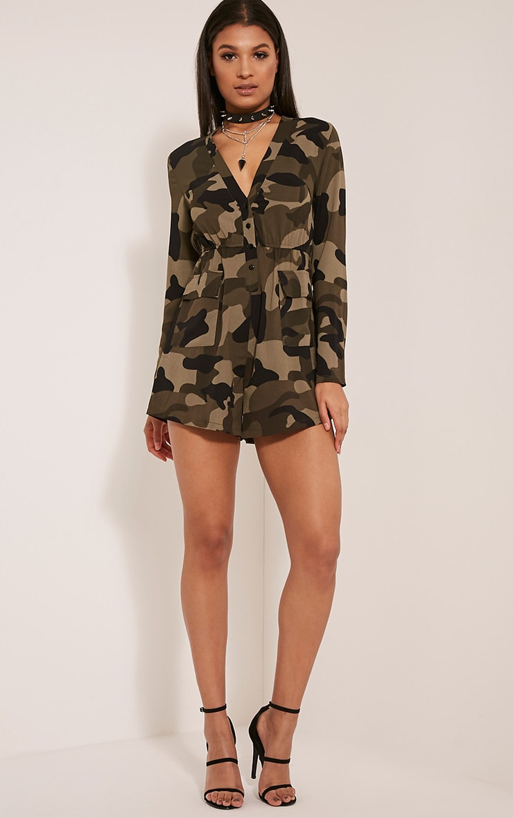 Tannie Camouflage Print Pocket Detail Playsuit 5