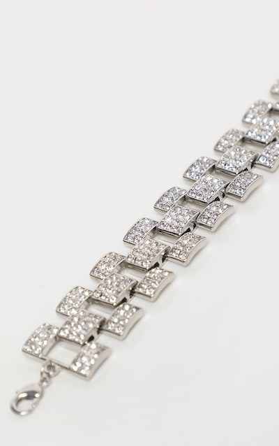 Silver Diamante Watch Chain Look Bracelet