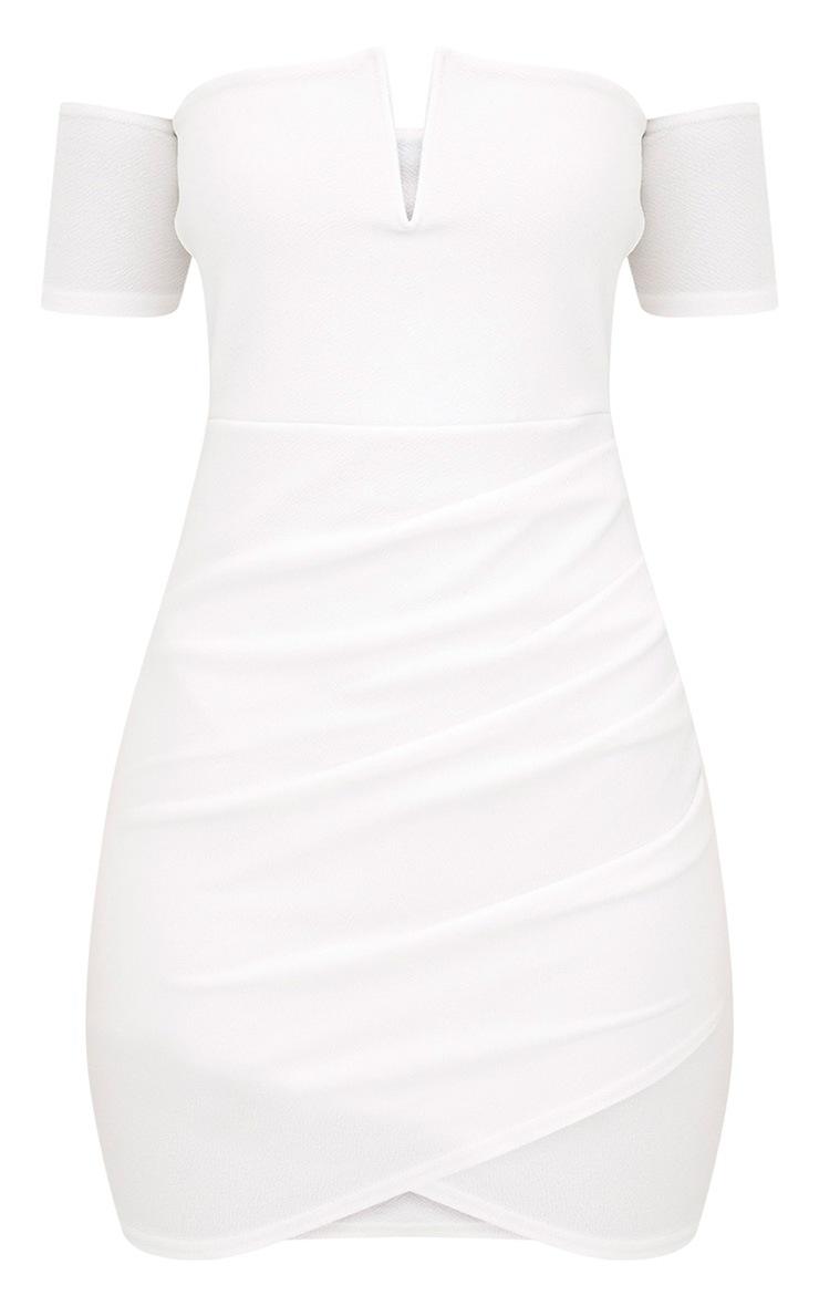 White Bardot Wrap Front Bodycon Dress 3