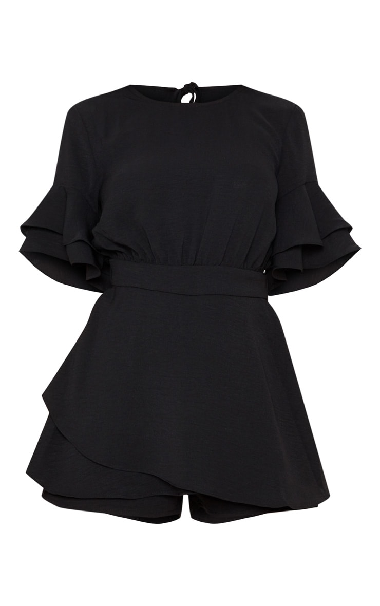 Black Frill Sleeve Tie Back Playsuit 3