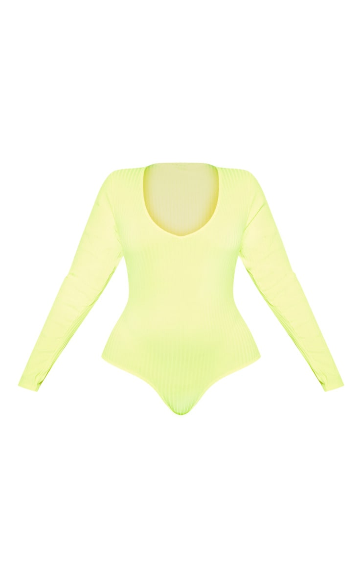 Plus Neon Yellow Rib Long Sleeve Bodysuit 3
