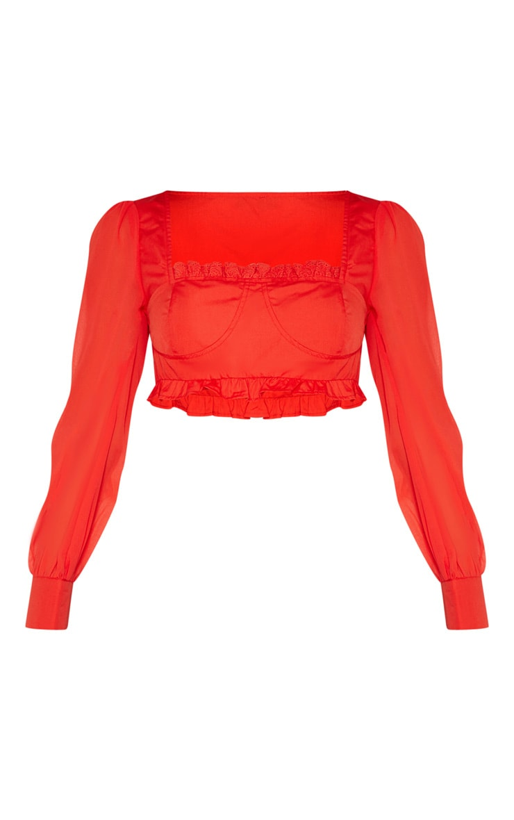 Red Cup Frill Square Neck Long Sleeve Crop Top 3