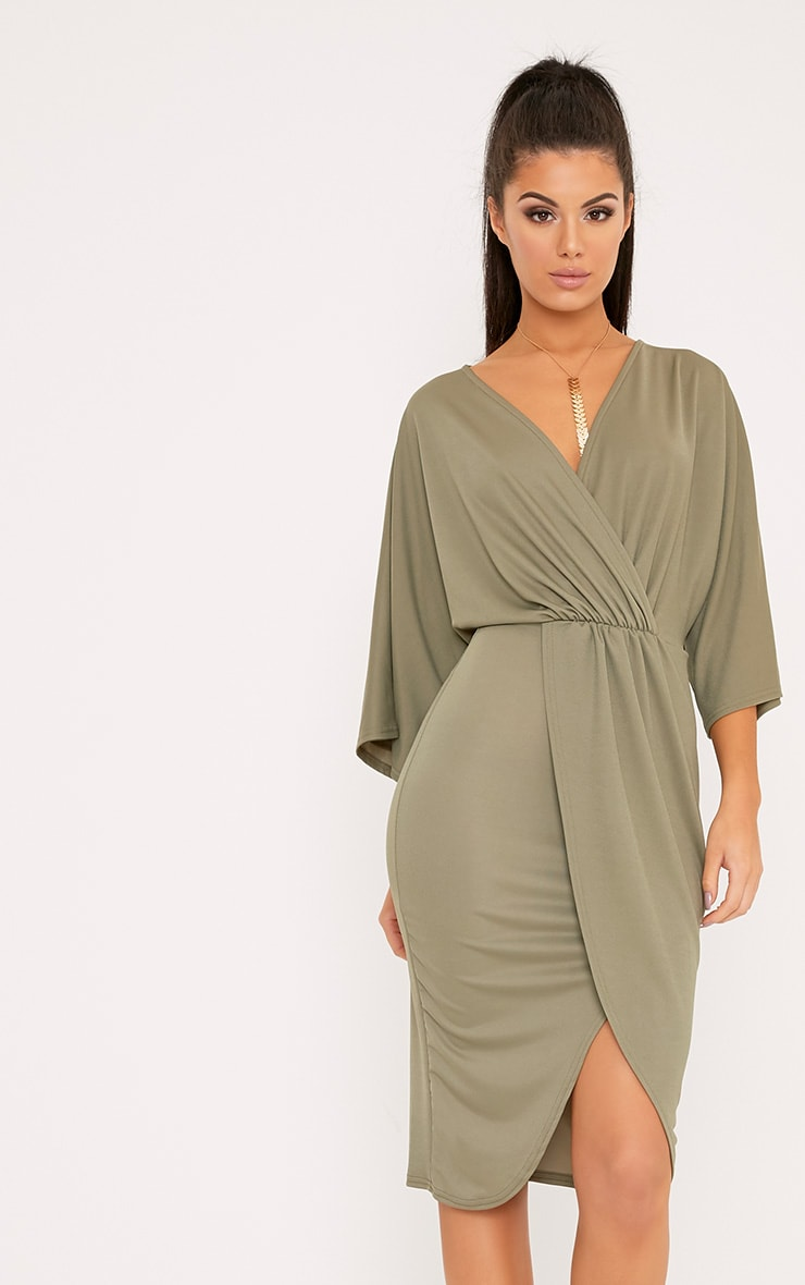 Archer Khaki Cape Midi Dress 1