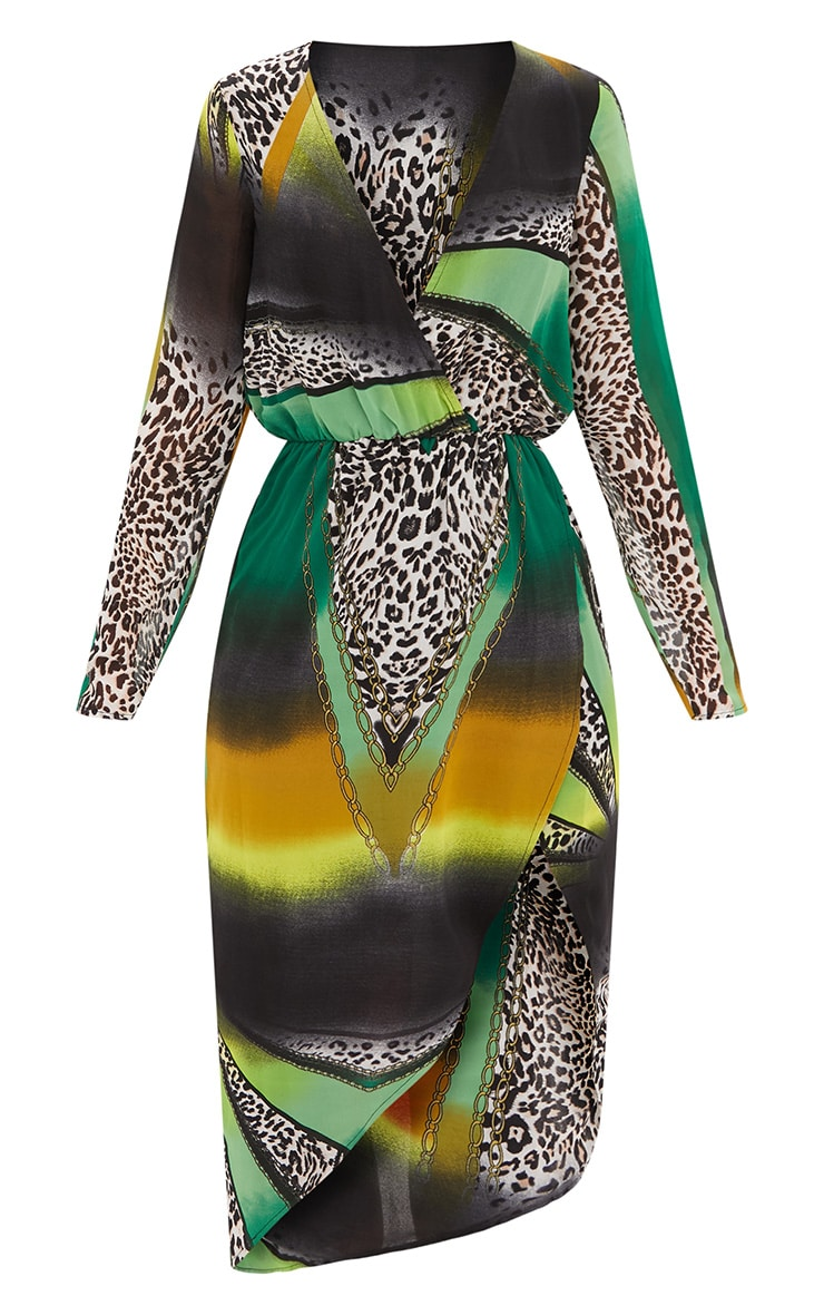 Green Animal Print Scarf Print Midi Dress 2