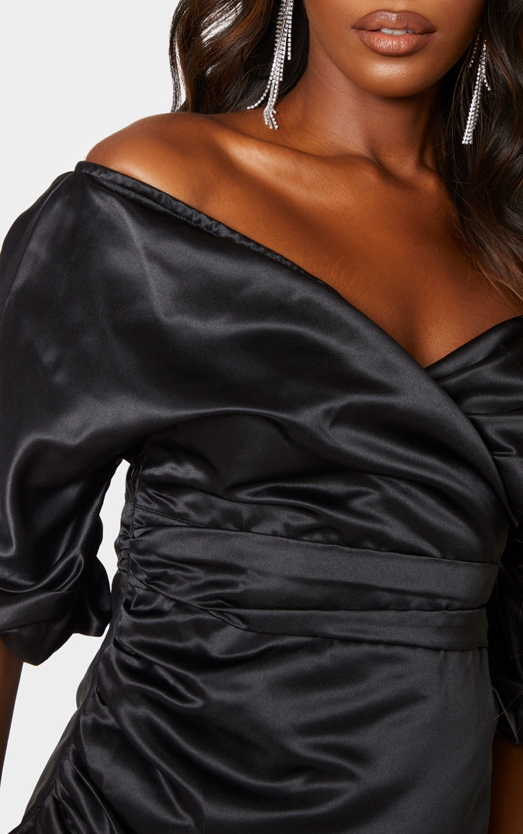 Black Off The Shoulder Satin Ruched Side Bodycon Dress  5