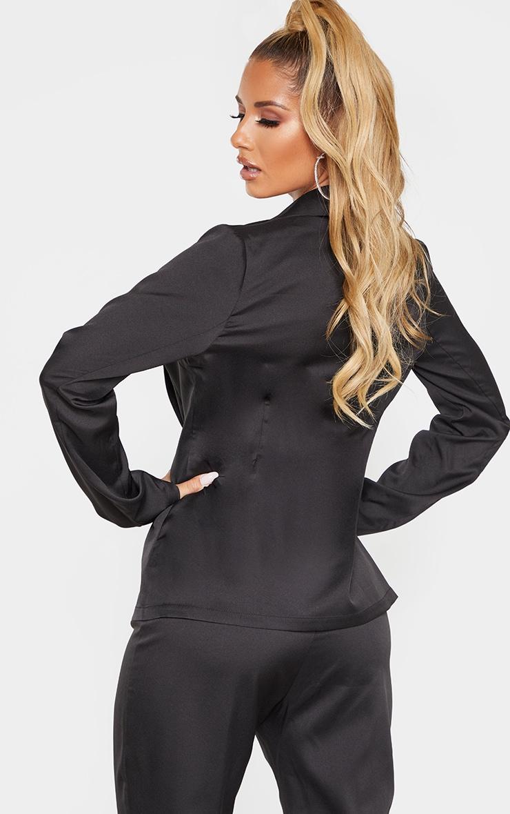 Black Woven Collar Button Detail Blazer  2