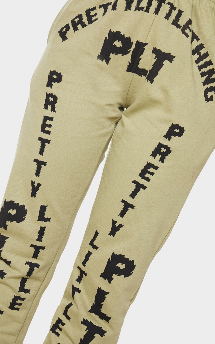 PRETTYLITTLETHING Shape Sage Green Slogan Print Joggers 4