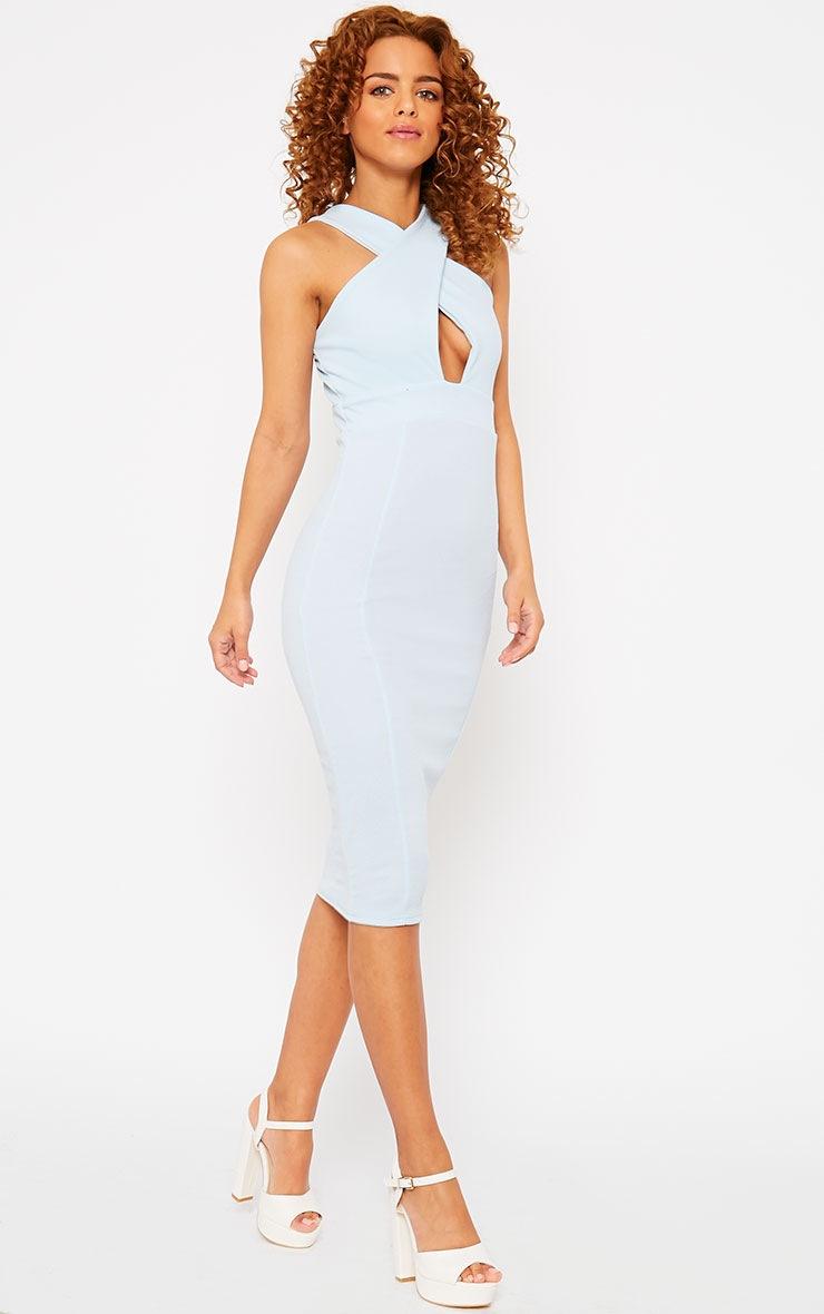 Courtney Powder Blue Cross Front Midi Dress 3