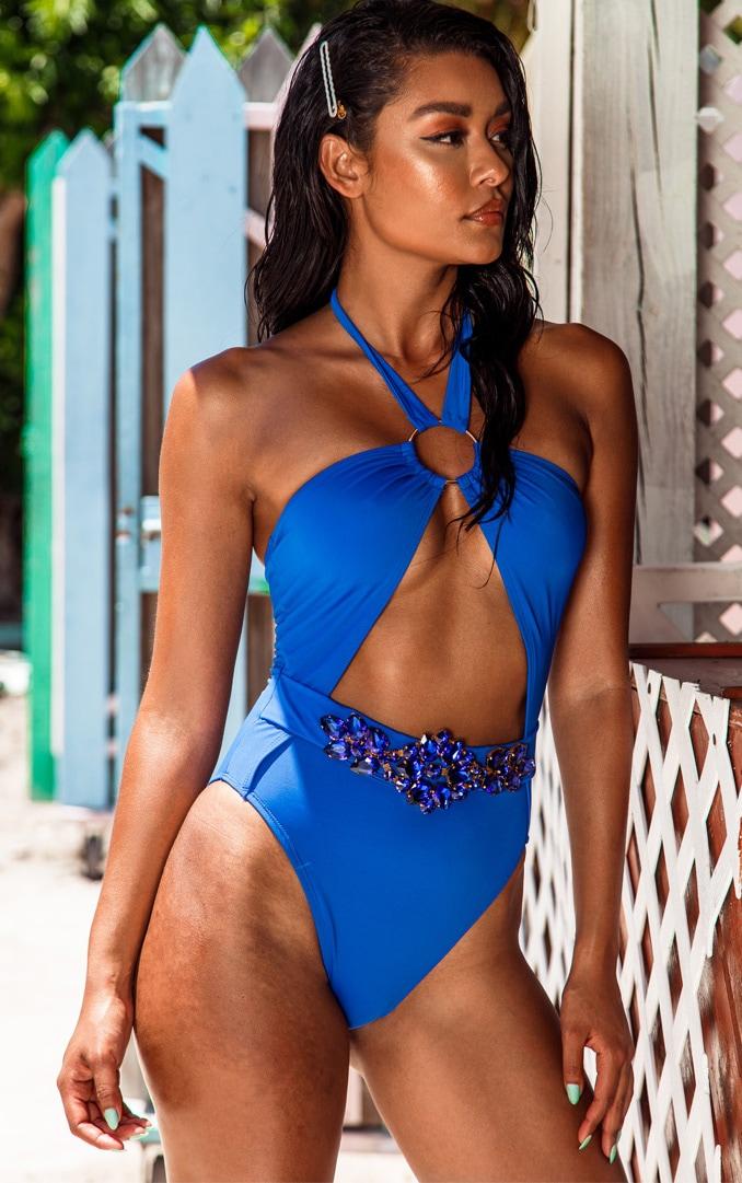 Cobalt Halterneck Jewel Belt Swimsuit 1
