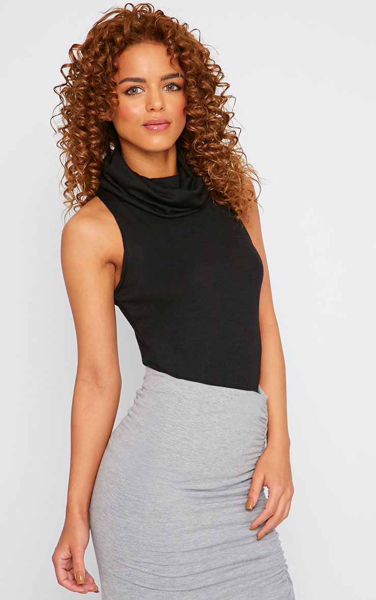 Polly Black Knitted Roll Neck Sleeveless Top  3