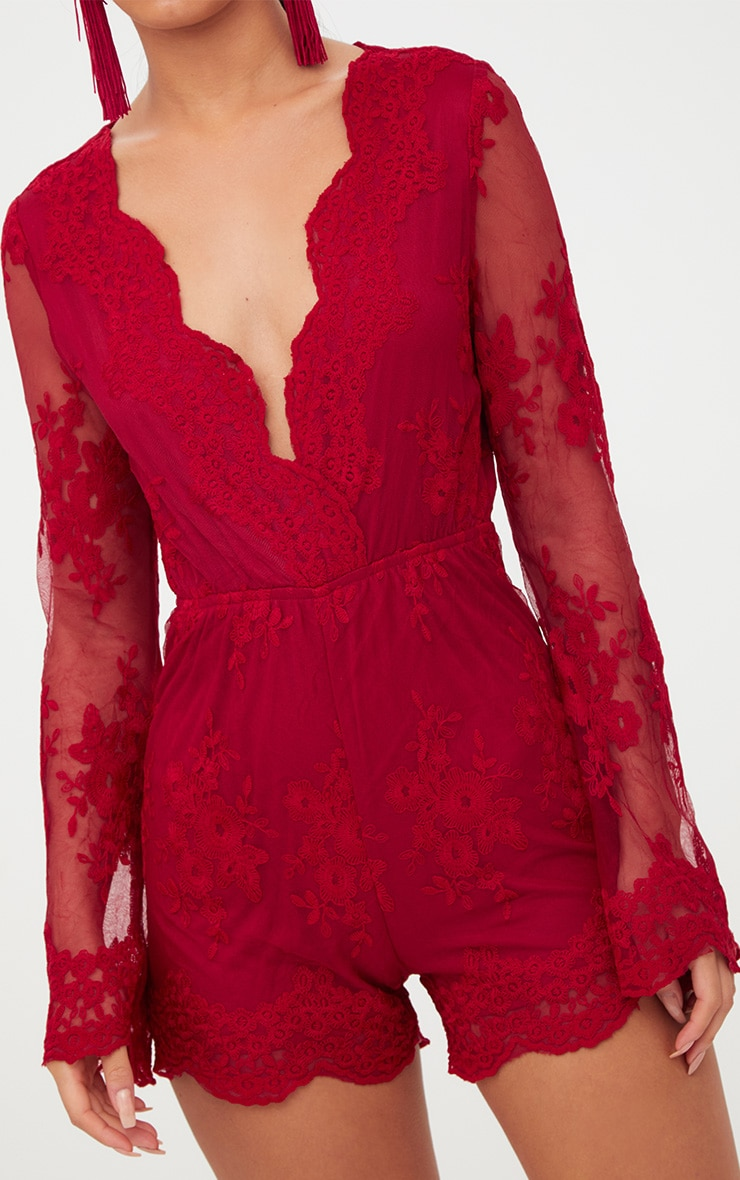 Red Lace Bell Sleeve Playsuit 6
