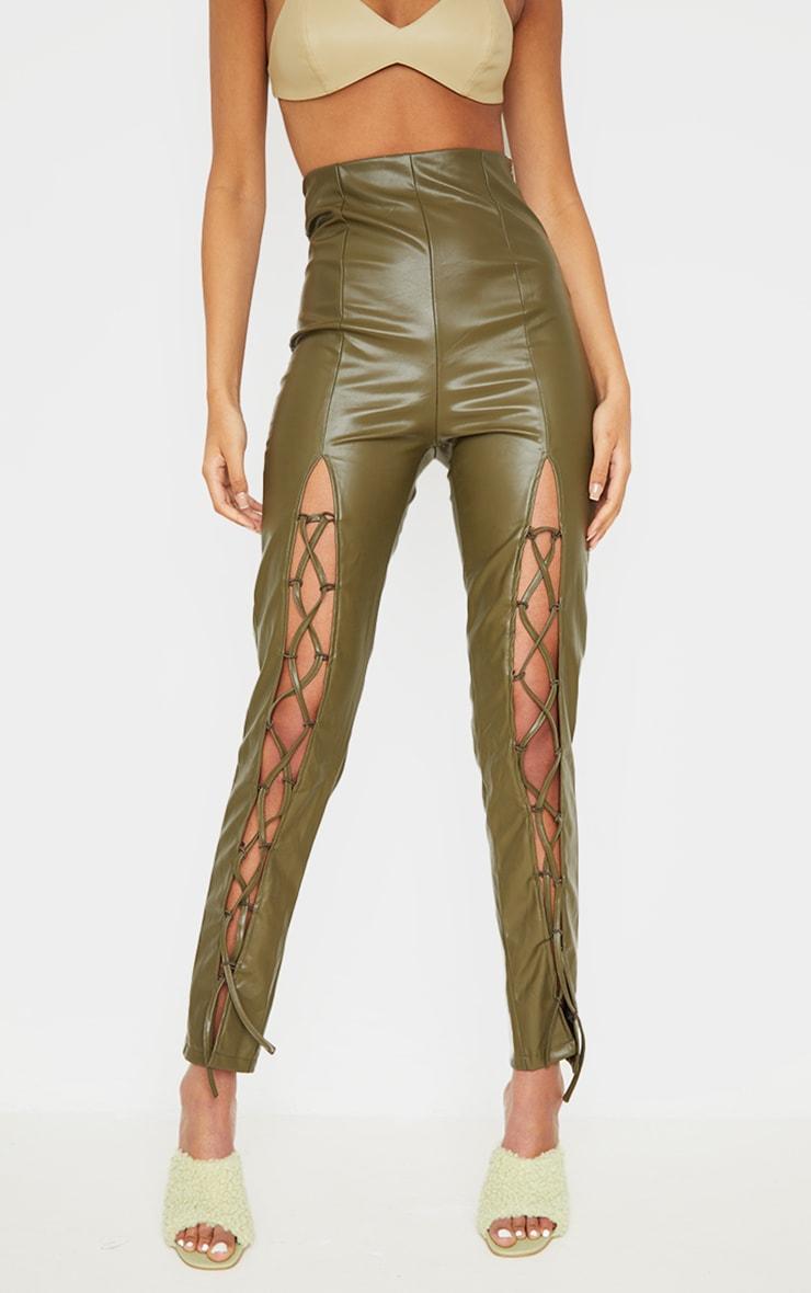 Tall  Olive Lace Up Pu Pants 2