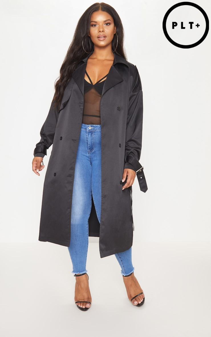 Plus Black Trench Coat by Prettylittlething