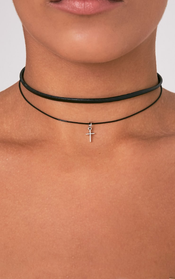 Aspen Black Thinline Double Layered Cross Choker 1
