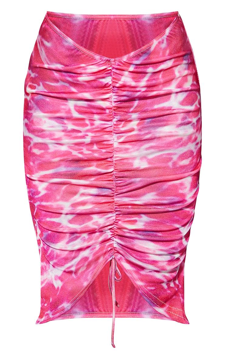 Pink Swirl Print Acetate Slinky V Front Ruched Midi Skirt 5