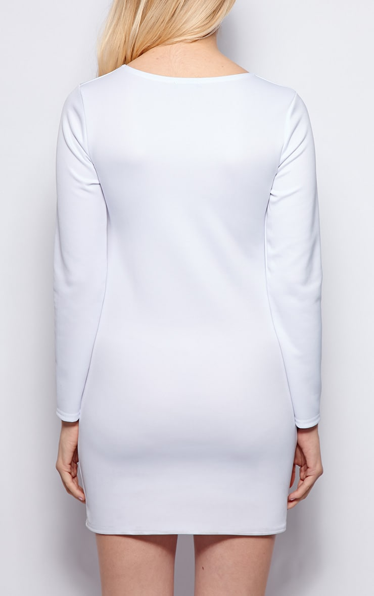 Zelda White Long Sleeved Scuba Dress 2