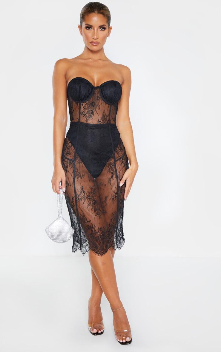 Black Bandeau Cup Detail Lace Midi Dress 1