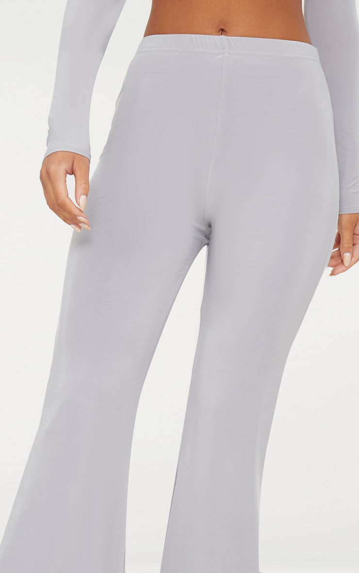 Grey Slinky Double Layered Flared Trouser 4