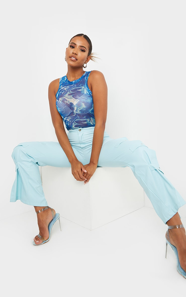 Blue Marble Printed Sheer Mesh Ruched Racer Crop Top 3