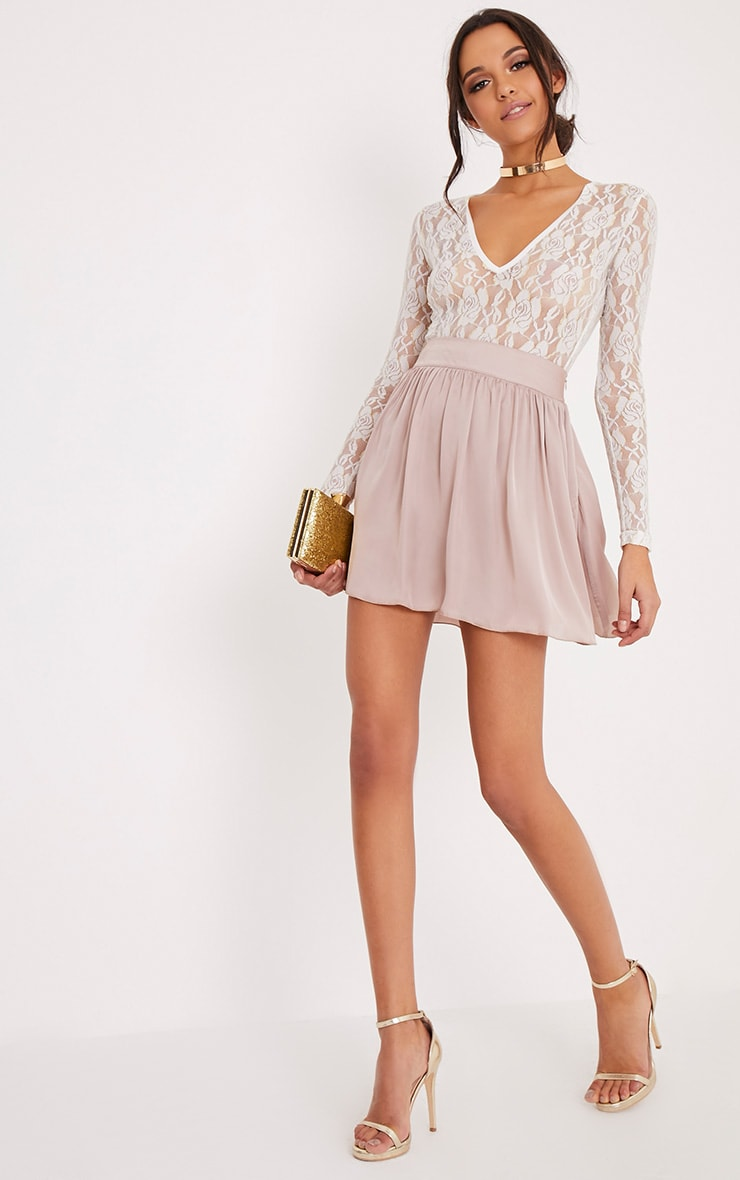Ostara Stone Floaty Satin Mini Skirt 6