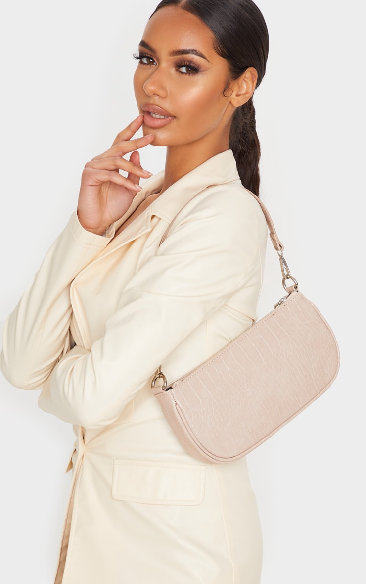 Nude Croc 90s Shoulder Bag 1