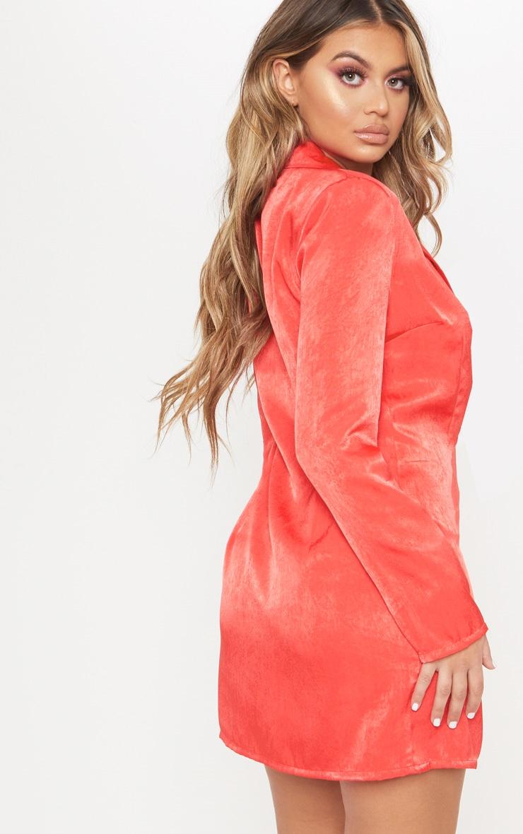Red Satin Shoulder Pad Blazer Dress 2