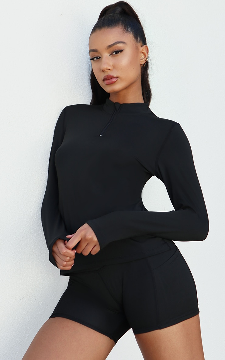 Black High Neck Half Zip Gym Top 1