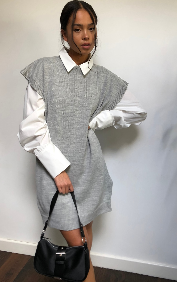 Grey Wide Shoulder Sleeveless Knitted Sweater Dress 1