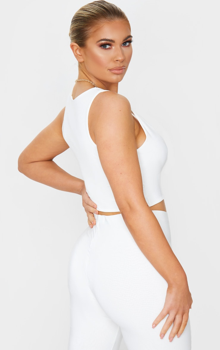 Cream Slinky Square Neck Crop Top 2