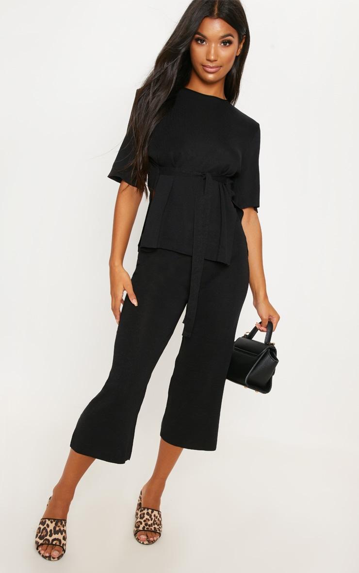 Black Fine Knit Tie Waist Top & Culotte Lounge Set
